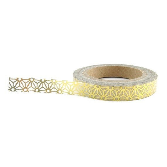 Hoja de oro estrellas Washi Tape  flaco Washi Tape  por WashiGang