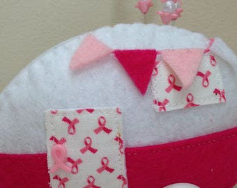 Breast Cancer Teardrop Trailer Pincushion Retro Camper Sewing Notion Sewing Room Decor Pin Cushion Christmas Ornament ***READY to SHIP***
