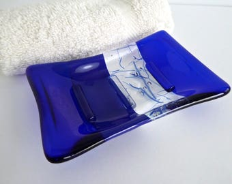 Fused Glass Soap Dish in Dark Cobalt Blue by BPRDesigns