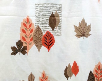 Vintage 50s Rayon Curtain Fabric Fall Leaves Leaf Bark Print Orange Brown White BTY