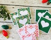 Holly Jolly Christmas Mini Heart Cards Set