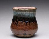 RESERVED handmade pottery cup, ceramic tea cup, yunomi, with orange shino and wood ash glazes