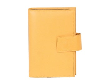 VINTAGE Yellow Leather 6 RING AGENDA Cover address book cover
