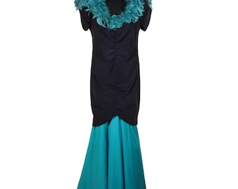 VINTAGE Italian Black and Turquoise Long EVENING MERMAID dress w/ feather trim