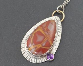 Noreena Jasper Amethyst Necklace, purple red gold necklace, amethyst necklace, mixed metal, boho, bohemian, sterling silver, michele grady