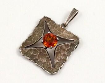 Kollmar and Jourdan Modernist Pendant Sterling Silver German Jewelry Tangerine Stone Signed KJ Vintage Pendant Estate Jewelry