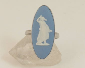 Vintage Wedgwood Ring, Sterling Silver, Blue Jasper Cameo Ring, Wedgewood Ring, US Size 7, UK Size N 1/2