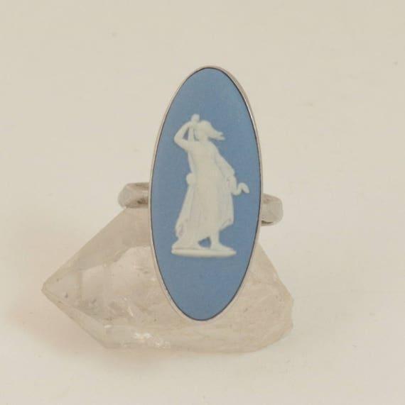 Vintage Wedgwood Blue Jasperware Cameo Ring