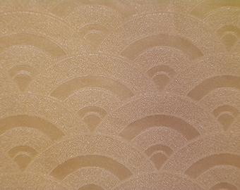 Vintage kimono S334, wave pattern sherbet   silk