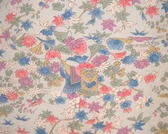 Vintage kimono S539, blue silk komon,