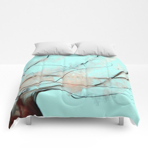 Jellyfish Comforter, Ocean Blue Decorative bedding, Pacific Sea Nettle, Nautical Decor, Aqua Blue bedroom, Surf, Water, Ocean Blue Bedding