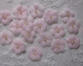 18pc Organza Sequin Beaded Lt PINK Fabric Daisy Flower Handmade Applique Baby Doll Dress