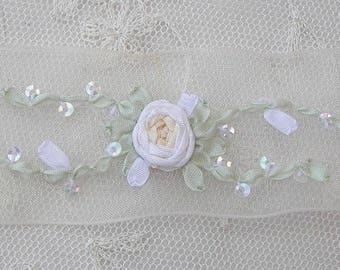 1 Yd 3 Inches Hand Embroidered CREAM IVORY WHITE Organza Sequin Flower Ribbon Trim Antique Vintage Bridal Baby Doll Christening Gown