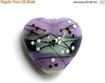 ON SALE 35% OFF Handmade Glass Lampwork Bead - 11835305 Lilac Tea Party Heart
