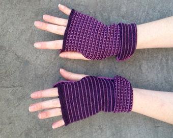 Arm Warmers Fingerless Gloves Purple and Pink Mittens Merino Wool Striped Gloves Mitaines en Laine Merinowolle Armstulpen