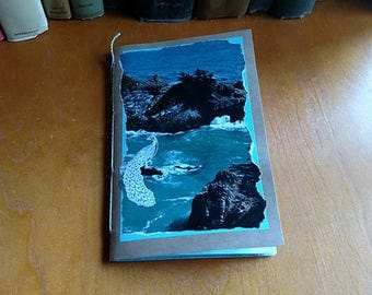 Aqua Junk Journal Mini Book Decorated Pages Daybook