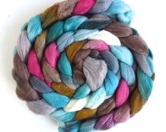 Merino Wool Roving Superfine - Hand Dyed Spinning or Felting Fiber, Cafe Diem