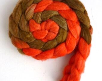 Merino/ Superwash Merino/ Silk Roving (Top) - Handpainted Spinning or Felting Fiber, Orange and Gold