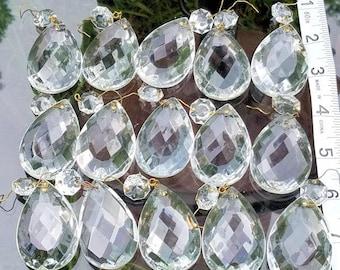 Large Vintage Crystal Prisms, Vintage Teardrop Prisms, Replacement Prisms, Chandelier Prisms, Destash Prisms, Crystal Prism Lot