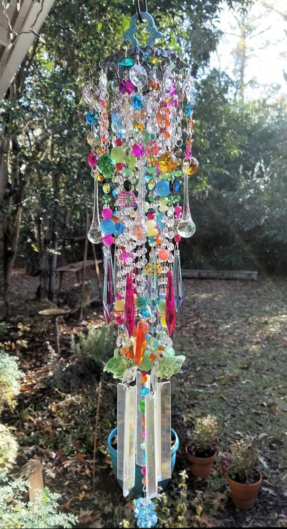 Colorful Antique Crystal Wind Chime, Bohemian Crystal Wind Chime ... -   Bohemian Wind Chime