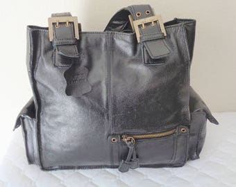 vintage thick soft BLACK natural leather tote,  bag simple functional MED size shoulder bag, multi  pockets Near MINT condition