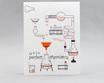 Letterpress Love Card, u+i=perfect chemistry