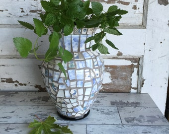 Broken China Mosaic Vase - Blue Violet