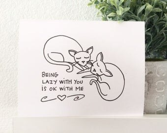 Love Card - Lazy With You Cats - Cat Lover Gocco Card from PaperMichelle