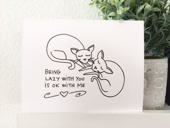 Love Card - Lazy With You Cats - Cat Lover - Valentine's Day Card - Gocco Card from PaperMichelle