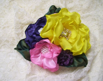 Ribbon Flowers Fascinator, Hat Adornment, Gift Topper, Flower BrooCh, Millinery, Mother's Day Pin