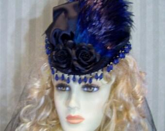 Steampunk Mini Riding Hat Victorian Hat 1800s Style Hat BlaCk and SaPphiRe Civil War Reenactment Hat