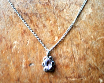 Delicate vintage 70s sterling silver necklace with a tiny amethyst pendant. Free shipping.