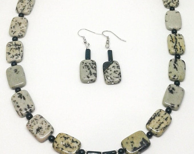 Item # 201738 Dessert, Jasper and Black Stone necklace and Earring Set, 22 Inches Long.