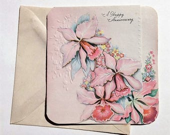 Vintage Happy Anniversary Greeting Card 1940s NOS with Envelope