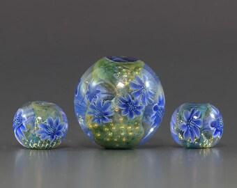 Lampwork focal glass flower murrini Bead set by Ikuyo SRA