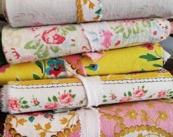 Patchwork Fabric Bundle, Scrap Pack- French 1950s Vintage Fabrics, Quilting, Mixed Media Art, Fairy Dresses, Applique, Patchwork Quilt