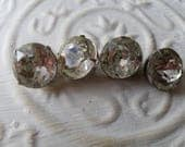 Vintage buttons 4 matching  silver metal small 5/8 inch rhinestone solitaire style, 1950's  (apr 1 17)