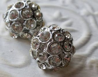 Vintage Buttons - 2 beautiful domed, matching rhinestone embellished, antique silver finish metal (apr 6 17)