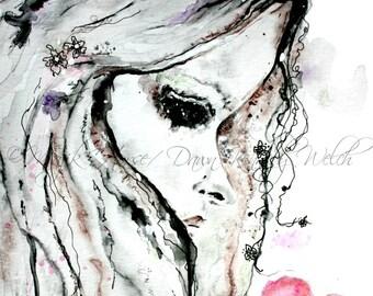 Girl Art, Woman Art, Art Print, Watercolor Print, Watercolor Painting,  Home Decor, Heart, Majik Horse