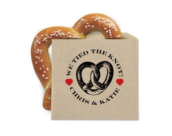 Wedding Favor Cookie Bags - Pretzel Favor Bags - We Tied the Knot - Double Opening Grease Resistant Kraft Favor Bags