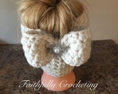 Adult messy bun hat... teen messy bun hat.. wool winter hat.. removable bow.. ready to ship