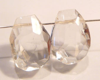 Genuine Rock Quartz Crystal FREE FORM Faceted Briolette....19x14mm....2 Beads