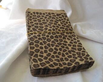 50 Paper Bags, Candy Bags, Gift Bags, Paper Gift Bags, Animal Print, Brown Paper Bags, Party Favor Bags, Cheetah Print, Retail Bags 8.5x11