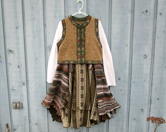 OOAK Earth Tones Reconstructed Bohemian Sweater Vest Dress// Large XL// Altered Clothing// Winter Spring// emmevielle
