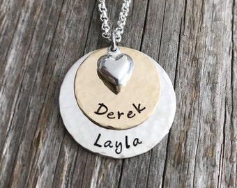 Double Stack - Silver and Gold Name Necklace - Mom Jewelry - Children's Names Charm