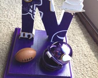 Wedding Cake Topper Minnesota Vikings Bridal Football Themed Initial of the Last Name
