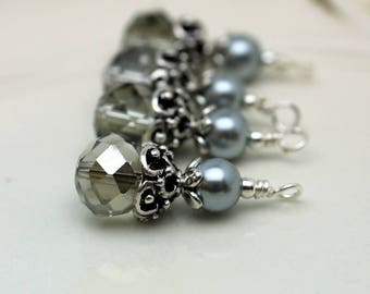 Vintge Style Gray Rondelle Crystal with Gray Pearl with Ornate Silver Bead Dangle Charm Drop Set - Earring Dangle, Charm, Pendant