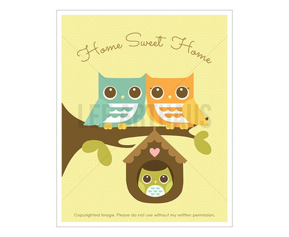 22T Owl Art - Home Sweet Home - Owl Parents with Baby Boy Owl Wall Art - Owl Family Print - Owl Home Decor - Owl Lover Gift - Owl Drawing