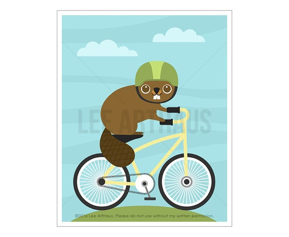 43A Bicycle Print - Beaver on Bicycle Wall Art - Animal Print - Beaver Nursery Decor - Beaver Print - Beaver Art - Funny Bicycle Poster