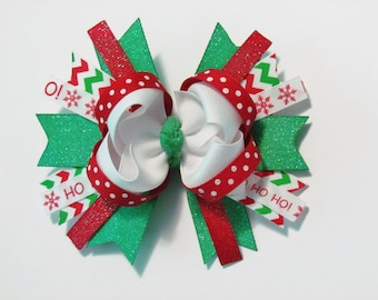 Red, Green, and White Christmas Holiday Avery Style Stacked Boutique Hair Bow Clip on alligator clip with no slip grip
